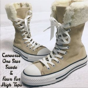 Converse Suede & Faux Fur High Tops NWT Sz  6